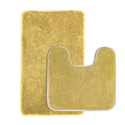 Seavish 2 Piece Shaggy Bathroom Rug Set, Non Slip Microfiber Soft Bath Mats and Contour Bath Rug Combo (2-Piece Set, Mustard Yellow)