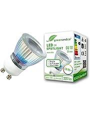 greenandco® CRI 90+ LED-spot GU10 35mm spot, 230V flikkervrij, niet-dimbaar