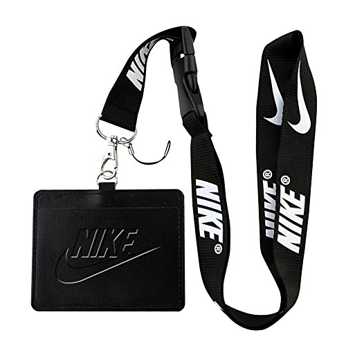 (Nike Black Faux Leather Business ID Badge Card Holder with Keychain Lanyard)