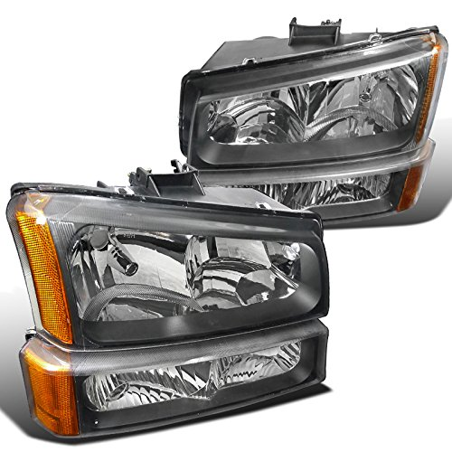 Spec-D Tuning 2LBLH-SIV03JM-RS Chevrolet Silverado Black Crystal Headlights, bumper lights (06 Avalanche Headlights compare prices)