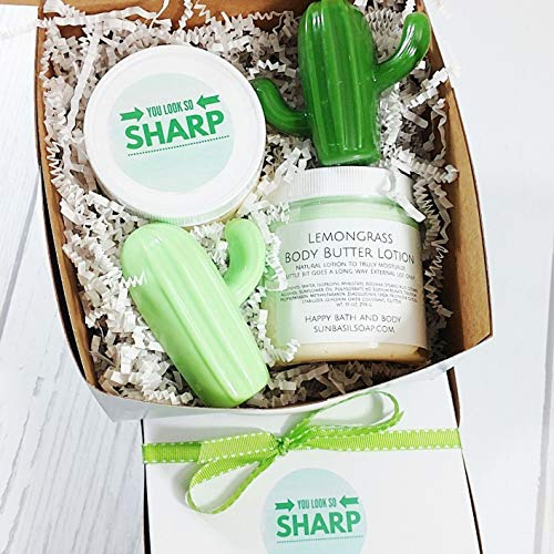 - Lemongrass Bath Spa Gift Set. You Look so Sharp Cactus. Best friend birthday gifts for Women