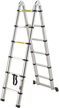 bxzcb Estante-Escalera-Soporte 2.5 + 2.5- Junta de doble propósito Escalera telescópica de aluminio-Escalera doméstica-Escalera de aluminio portátil multifuncional Ayuda para alcanzar la altura desea: Amazon.es: Bricolaje y herramientas