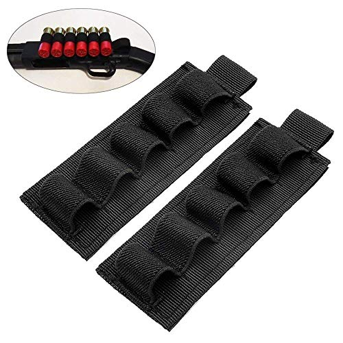 FUNANASUN Buttstock Holder Rifle Cartridge Shotgun Ammo Carrier Adhesive Side Saddle Nylon for 12Ga (5 Rounds- 2 Pack) (Best Cheap Shotgun Ammo)