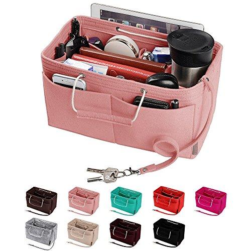 Purse Organizer, Multi-Pocket Felt Handbag Organizer, Purse Insert Organizer with Handles, Medium, Large (Large, Brush Pink)