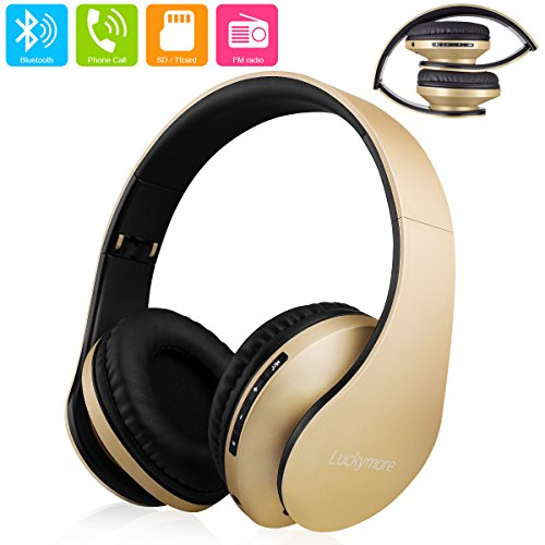 Bluetooth Headphones, 4 in 1 Upgraded Over Ear Wireless Foldablel Headset, Built-in Mic and Wired Mode for Cellphones Iphone Smartphones TV Laptop Computer and Travelling-Gold