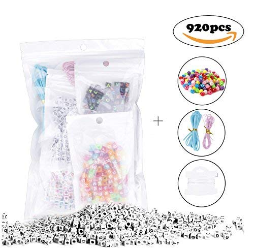 Acrylic Alphabet Beads 800Pcs 6mm Colourful Acrylic Alphabet Letter `A-Z` Cube Beads For Jewellery Making DIY Bracelets Necklaces Children`s Educational Toys Handmade Gift And 20pcs AB Colourful Beads