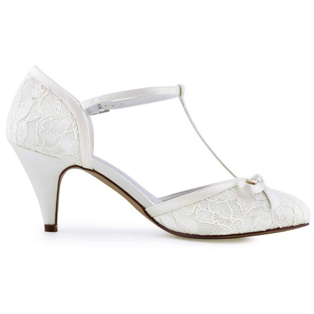 Qiusa Damen Knoten Retro Schöne Elfenbein Elfenbein Elfenbein Spitze Braut Hochzeit T-Strap Schuhe UK 4 (Farbe   - Größe   -) 85636f