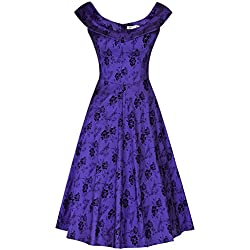 MUXXN Womens Cute Peter Pan Collar Knit Wrap Mid Length Wedding Violet Dress (New Violet M)
