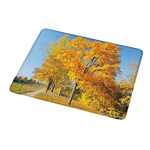 Maple Desk Country (Gaming Mouse Pad Custom Design Mat Fall,Maple Trees in the Rural Countryside Natural Landscape Tranquil View,Pale Blue Yellow Green,Non-Slip Rubber Base Ideal for Keyboard,PC and Laptop 9.8