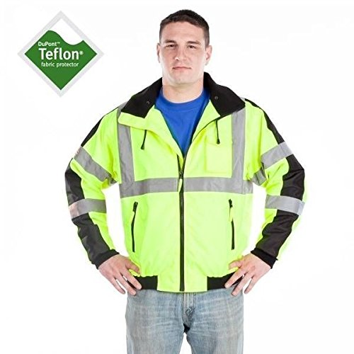 Utility Pro Uhv575 Polyester High Vis Waterproof 3 Season Jacket With Removable Liner With Dupont Teflon Fabric Protector   Yellow   X Large