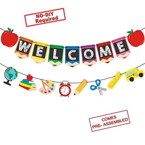 Aweekly Welcome Back to School Banner Kids Theme Party Apple Pencil Stationery Garland First Day New Grade of Class Pennant Ideas Photo Props Decoration
