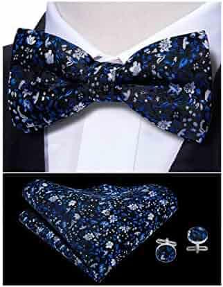 8ab520e4aad3 Mens Bow Tie Set Silk Pretied Bowtie Pocket Square Cufflinks Necktie Set  Yohowa