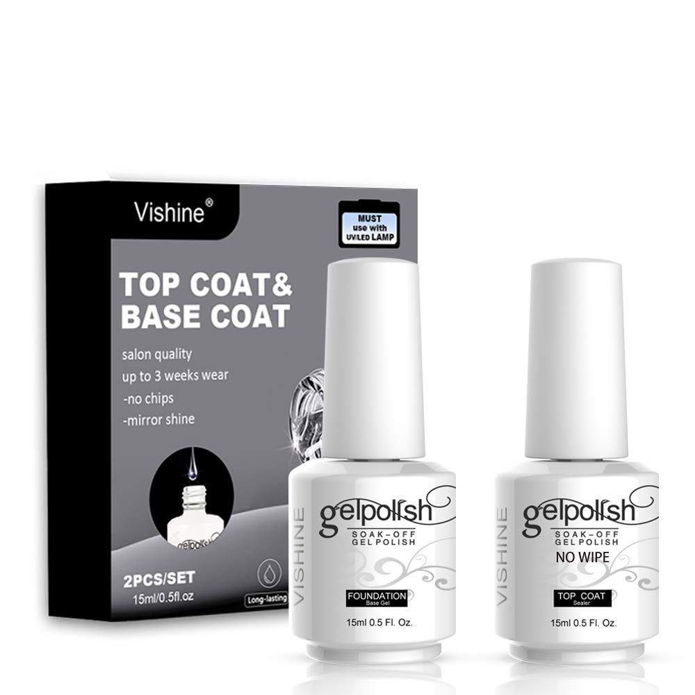 Vishine Long Lasting Soak Off Nail Polish Base + Top Coat Set Gel 15ml