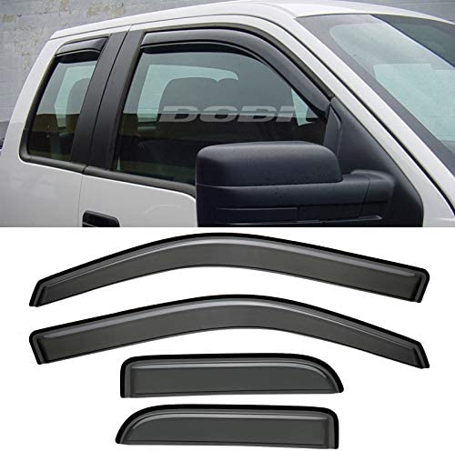 Niviora 4pcs Tape On Outside Mount Style Smoke Sun Rain Guard Vent Shade Window Visors Wind Deflectors for 2007-2012 Dodge Nitro