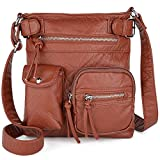 UTO Women Handbag Purse PU Washed Leather Accent Top Belt Crossbody Shoulder Bag Brown