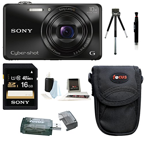 Sony DSC-WX220 DSCWX220/B 18.2 MP Digital Camera with 2.7-Inch LCD (Black) (Base Bundle)