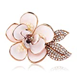 Infinite U White Rose/Flower Rose Gold Plated Austrian Crystals Pearl Women Brooch Pin