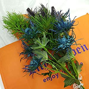 Lily Garden 6 Long Stems Artificial Eryngo Thistles Bunch of Flowers Plants for Home Decor Centerpieces 6
