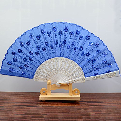 White Royal Blue Spanish Style Dance Wedding Party Lace Silk Folding Hand Held Flower Fan