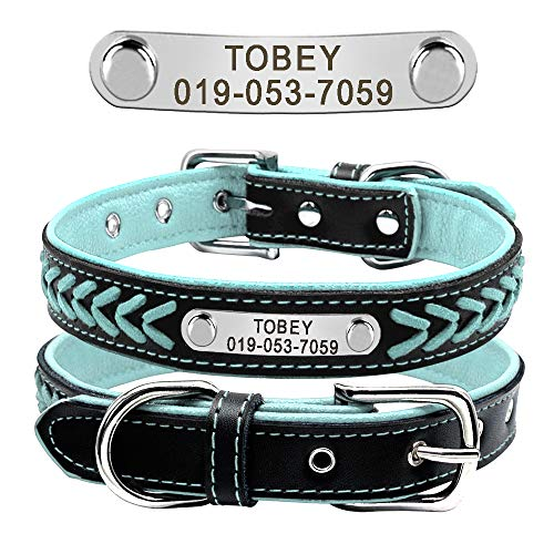 Didog Leather Custom Collar,Braided Leather Engraved Dog Collars with Personalized Nameplate for Small Medium Large Dogs,Blue,L ()