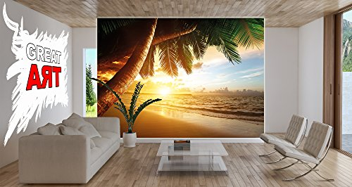 Free shipping sandy beach at sunset photo wallpaper for Decor mural xxl