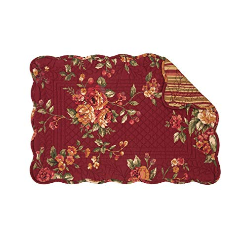 C&F Home Lilith Burgundy Red Floral Flower Place Mats Stripe Rectangular Cotton Quilted Reversible Washable Placemat Set of 6 Rectangular Placemat Set of 6 - Large Place Knife Burgundy