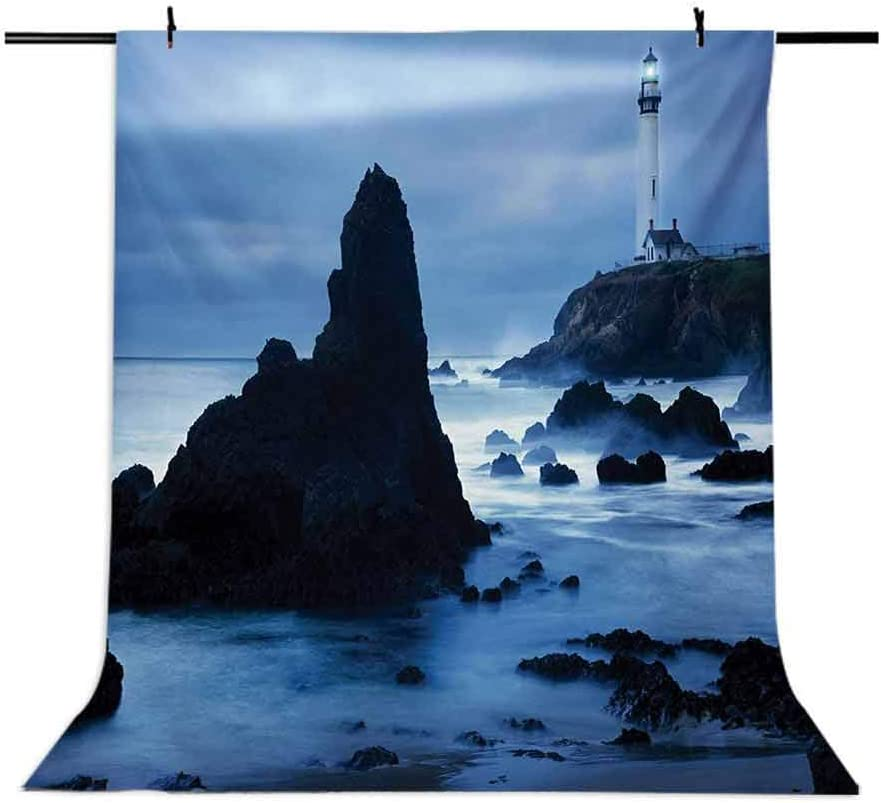 Lighthouse 10x12 FT Backdrop Photographers,Lighthouse at The California Coast with Beam Peaceful Foggy Surface Twilight Background for Baby Shower Bridal Wedding Studio Photography Pictures
