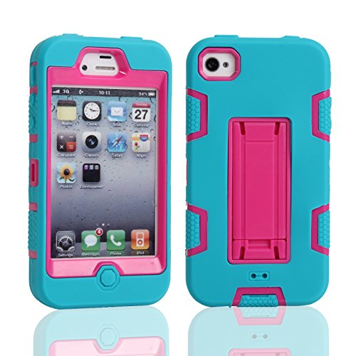 iPhone 4 4S Shockproof Custodia,Heavy Duty Rosa Blu PU & PC Urti Assorbimento Case Robusto Back Paraurti Caso Armatura ibrida Kickstand Protettiva Case Shell Cover per iPhone 4 4S