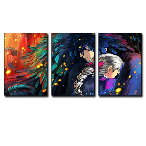3Pcs/set 16x24inch Vintage Howl's Moving Castle View Modern Creative Decoration Posters Paintings Canvas Wall Art Picture Home Decor Living Room Canvas Print Painting DIY Murals ()