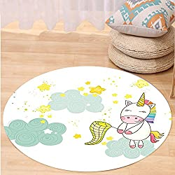 Kisscase Custom carpetUnicorn Baby Unicorn Girl Sitting on Fluffy Clouds and Hunting Nursery Image Bedroom Living Room Dorm Decor Green Yellow