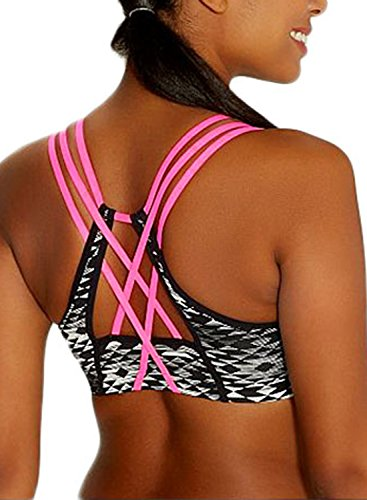 EVALESS Women's Active Strappy Wirefree Yoga Sports Bra Support Running Bra Top Small Black