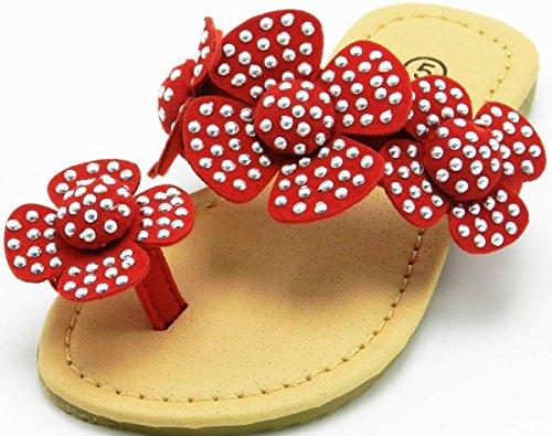 Jenter Barna Pjokk Flip-flop Flat Blomst Vår / Sommer Strand Sandal Sko Røde