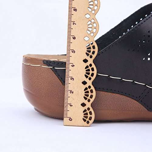 Peep Sandales Tongs Noir Femmes Chausson Confort Plate Sandale Slip Diapositive Jrenok forme Toe Wedge STqCg1