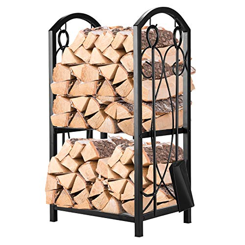 Pinty Firewood Log Rack with 4 Tools Firewood Storage Fireplace Tool Set Indoor Outdoor Wrought Iron Firewood Holders Lumber Storage Stacking Black ()