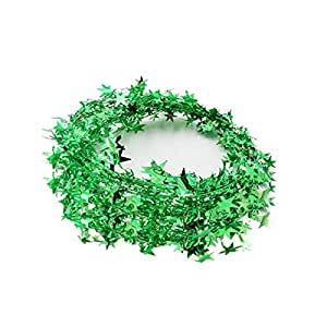 Star Garland Tinsel Stars Brace,Tinsel Wire Garland Christmas Decoration Party Accessory (Green)