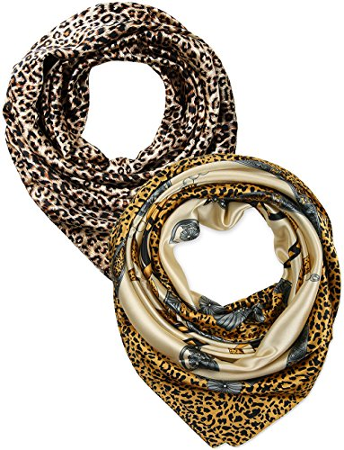 Leopard Silk Scarf - 2 Pcs 35 Inches Silk Feeling Beige Leopard Ribbon Design Square Scarf Hair Scarves