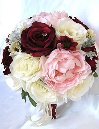 Amazon 17 piece package wedding bouquet bridal bouquets 17 piece package wedding bouquet bridal bouquets artificial silk flower cream burgundy light pink silk flower mightylinksfo