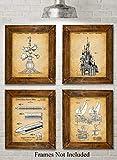 Original Disney Rides Patent Art Prints - Set of Four Photos (8x10) Unframed - Makes a Great Gift Under $20 for Disney Fans