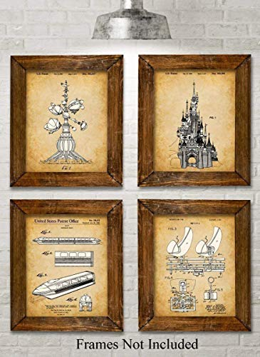 Original Disney Rides Patent Art Prints - Set of Four Photos (8x10) Unframed - Makes a Great Gift Under $20 for Disney Fans ()
