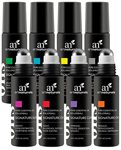 Art Naturals Essential Oils Roller Bottles 8 Piece Blend Set 10ml Each - Aromatherapy Roll On - With Stainless Steel Roller Balls - Made With Jojoba Oil - Assists with Sleep, Headache, Calming, Moods (10 Ml Sampler)