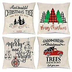 Christmas Farmhouse Home Decor Wareon Christmas Pillow Covers 18×18 inch Set of 4 for Christmas Decorations Farmhouse Decoration Christmas Buffalo… farmhouse christmas pillow covers