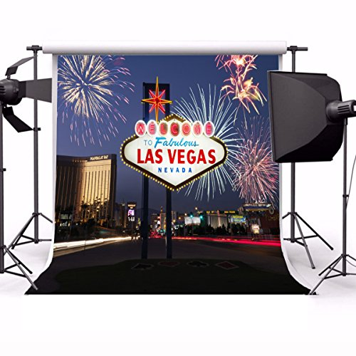 Laeacco 10x10ft Vinyl Backdrop Photography Background Welcome to Fabulous Las Vegas Nevada Fireworks Lighted Sign City Night View Landscape Travel Wedding Holiday Party Decorations Backdrop