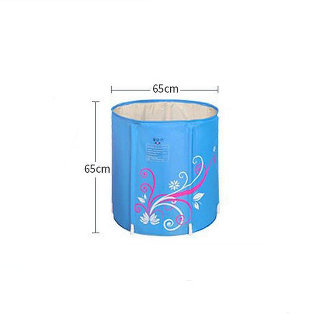 bluee 6565CM Folding bathtub Inflatable Bathtub Thicker Quilted Fold Bath Tub Bath Barrels Adult Bathtub Wash Basin Bath Barrels Inflatable bathtub,Bath barrel ( color   bluee , Size   7068CM )