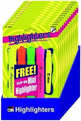 Charles Leonard 76670-ST - Pack de 4 subrayadores: rosa, naranja, amarillo y verde, y 1 mini subrayador amarillo, 5 marcadores/paquete, incluye 12 paquetes y bandeja de estante: Amazon.es: Oficina y papelería