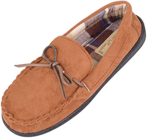 Slippers Para Hombre / Mocasines / Zapatos De Interior Con Interior De Tartán Suave Y Cálido Tan