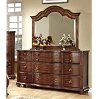 Furniture of America Averia Traditional Dresser and Mirror, Brown Cherry