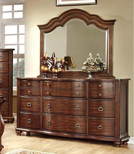 Furniture of America Averia Traditional Dresser and Mirror, Brown Cherry - Cherry Traditional Dresser