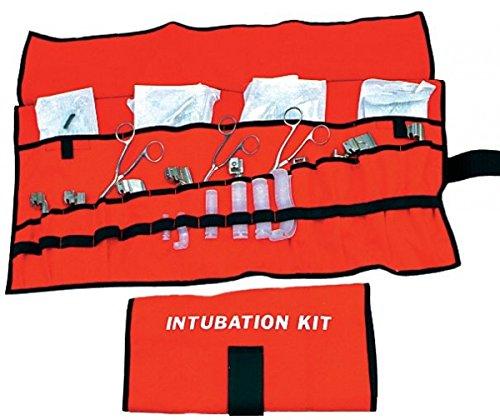R&B Fabrications 259OR Heavy Cordura Nylon Roll up Intubation Kit, 4 Large Pockets, 14 Slot Pockets, 17 Elastic Loops, Orange