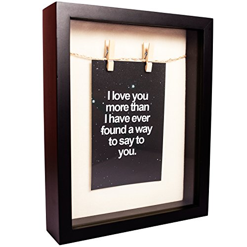 8x10 Shadow Box Picture Frame - Black Shadow Box Display Case - Memory Box Bank - Top Loading Shadow Box with Slot - Large Shadow Box with Double-sided Foam Background for Flowers, Tickets and Pins