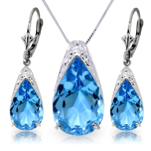 14k White Gold Blue Topaz Drop Necklace and Earrings Set